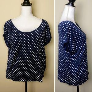 ZARA Collection Top, Blue White Polka Dot Flowy, L
